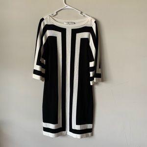 Trina Turk black and white 3/4 sleeve knit dress